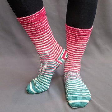 Knitcircus Yarns: Feliz Navidad Gradient Striped Matching Socks Set (large), Greatest of Ease, ready to ship yarn