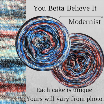 Knitcircus Yarns: You Betta Believe It Modernist, dyed to order yarn