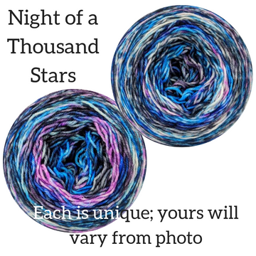 Knitcircus Yarns: Night of a Thousand Stars Modernist, dyed to order yarn