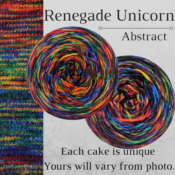 Knitcircus Yarns: Renegade Unicorn Abstract, dyed to order yarn