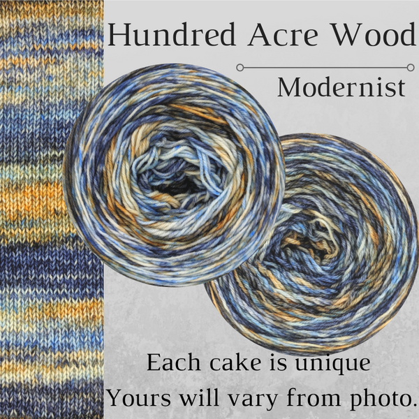 Knitcircus Yarns: Hundred Acre Wood Modernist, dyed to order yarn