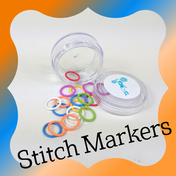 Knitcircus Round Jar with 20 Ring Stitch Markers, ready to ship