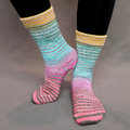 Knitcircus Yarns: Twister Extreme Striped Matching Socks Set (large), Greatest of Ease, ready to ship yarn