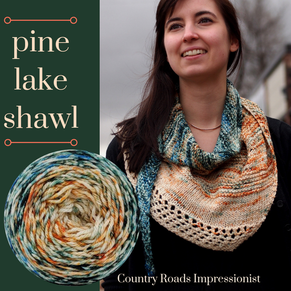 Pine Lake Shawl Yarn Pack, pattern not included, ready to ship