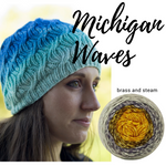 Michigan Waves Hat Yarn Pack, pattern not included, ready to ship