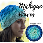 Michigan Waves Hat Yarn Pack, pattern not included, dyed to order