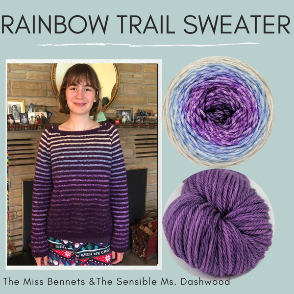 Rainbow Trail Sweater Yarn Pack by Cristina Ghirlanda, pattern not included, ready to ship