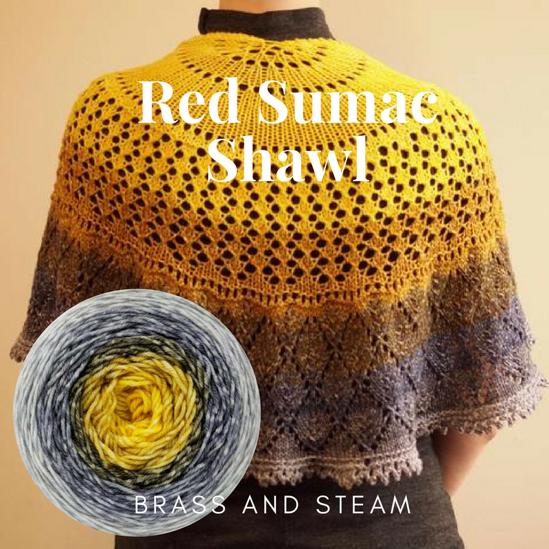 Red Sumac Shawl Kit, dyed to order
