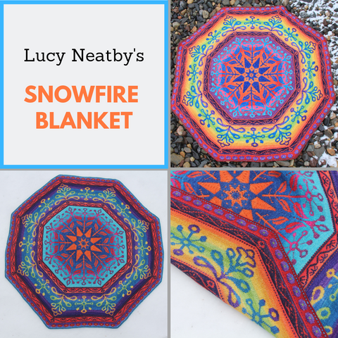 Snowfire Double Knit Blanket by Lucy Neatby Yarn Pack, pattern not included, dyed to order