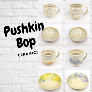 Ceramic Mugs and Plates by Pushkin Bop, various designs, ready to ship