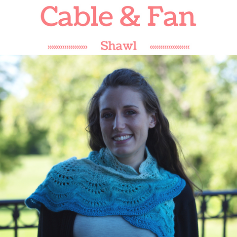 Cable and Fan Shawl Kit in Turquoise Pool, ready to ship