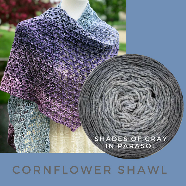 Cornflower Shawl Kit, ready to ship