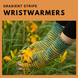 Gradient Stripe Wristwarmers Kit, ready to ship