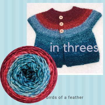 In Threes Yarn Pack, size 0 to 6 months, pattern not included, ready to ship