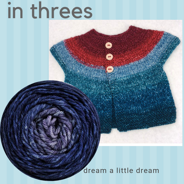 In Threes Yarn Pack, size 18 months to 2 years, pattern not included, ready to ship
