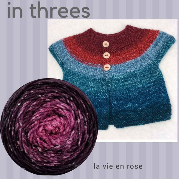 In Threes Yarn Pack, size 0 to 6 months, pattern not included, dyed to order
