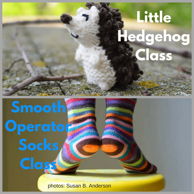 BOTH Classes with Susan B. Anderson: Smooth Operator Socks and Little Hedgehog