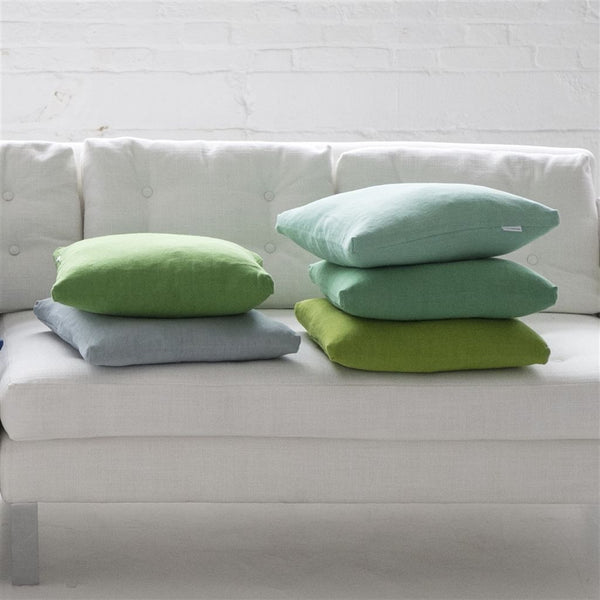 Designers Guild Brera Lino - Celadon Plain fabric Decor Rooms