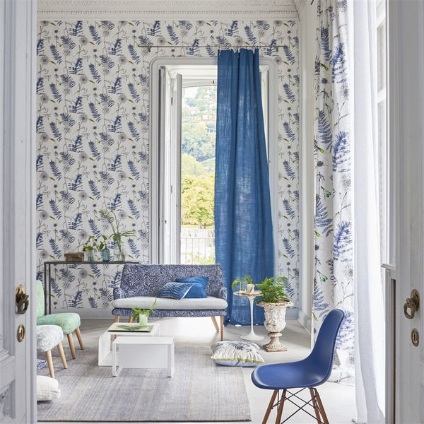 Designers Guild Acanthus - INDIGO floral fabric Decor Rooms