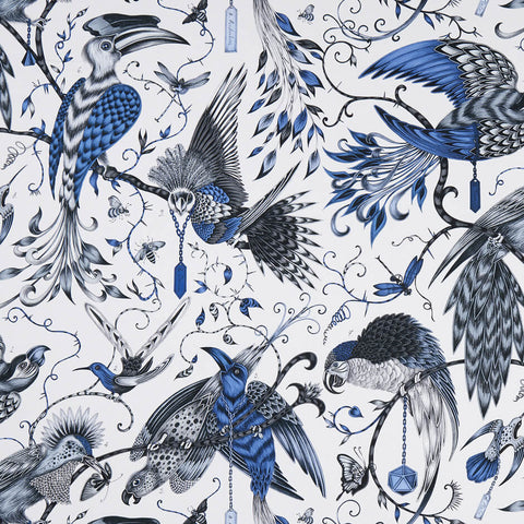 Audubon Blue Fabric by Clarke & Clarke - Decor Rooms