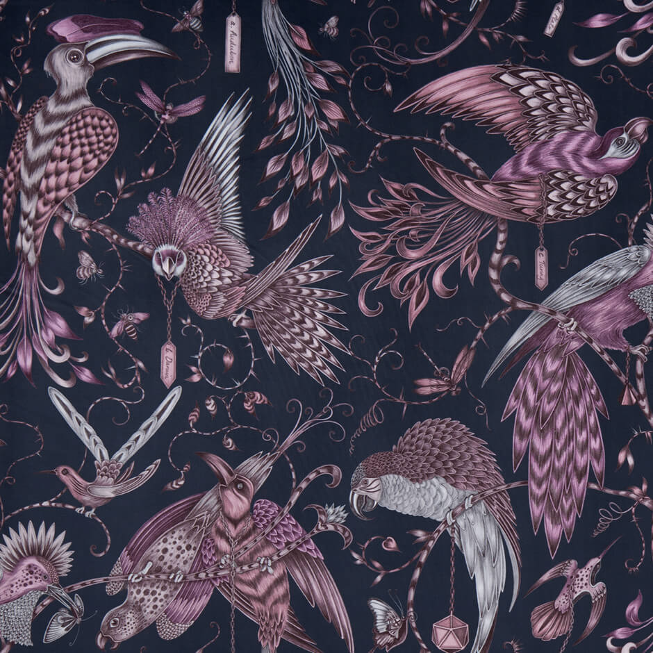 Audubon Pink Velvet Fabric by Clarke & Clarke - Decor Rooms