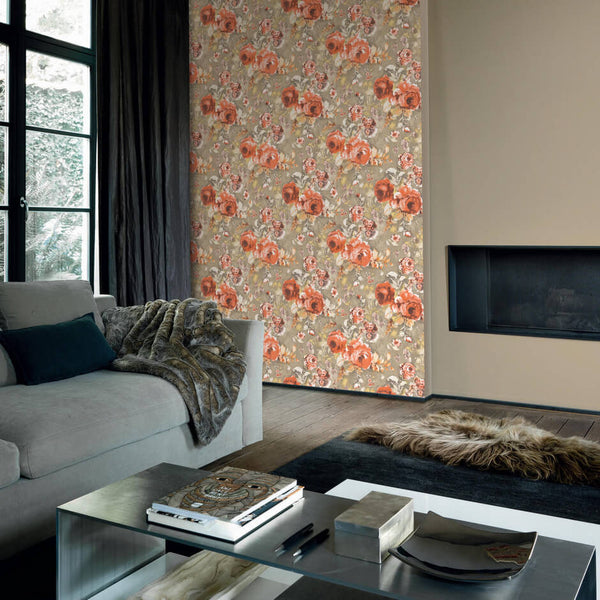 Casamance Stella - Orange Wallpaper 73390340 Wallpaper - Decor Rooms - 2