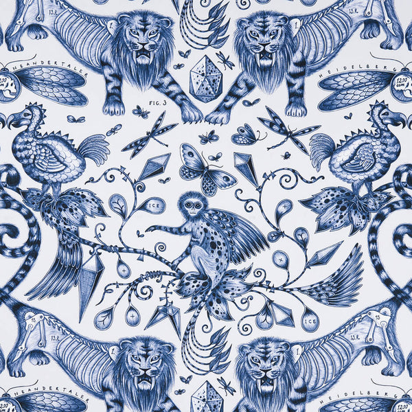 Extinct Blue Fabric by Clarke & Clarke - Decor Rooms