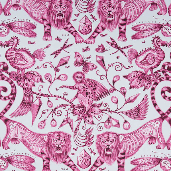 Extinct Magenta Fabric by Clarke & Clarke - Decor Rooms