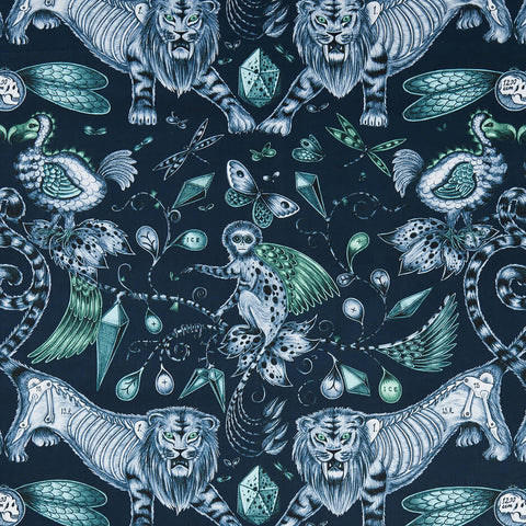 Extinct Navy Fabric by Clarke & Clarke - Decor Rooms