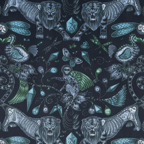Extinct Navy Velvet Fabric by Clarke & Clarke - Decor Rooms