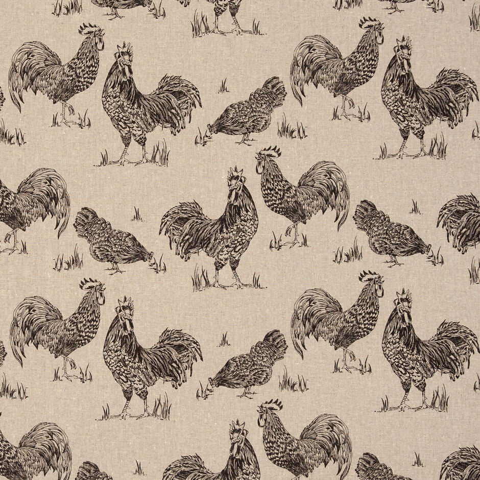 Clarke & Clarke Chickens - Noir Fabrics - Decor Rooms - 1