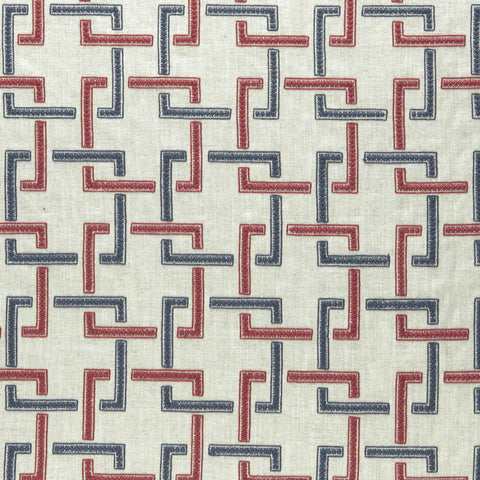 Amara Collection - Sekai Indigo/Red Fabric by Clarke & Clarke - Decor Rooms