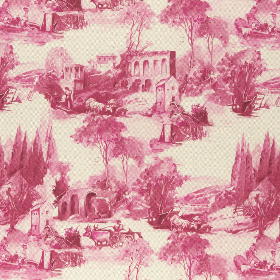 Colony collection - Anastacia Raspberry Fabric by Clarke & Clarke - Decor Rooms