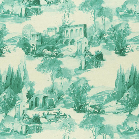 Colony collection - Anastacia Teal Fabric by Clarke & Clarke - Decor Rooms