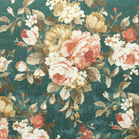 Colony Collection - Emeline Teal Fabric by Clarke & Clarke - Decor Rooms
