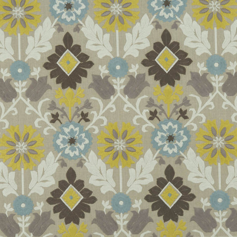 Augustina Mineral/Citron Fabric by Clarke & Clarke - Decor Rooms
