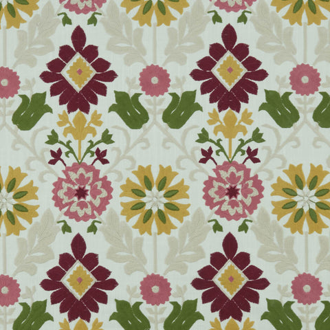 Augustina Raspberry/Apple Fabric by Clarke & Clarke - Decor Rooms