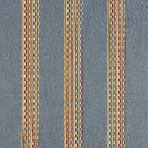 Boho Stripe Denim/Rouge Fabric by Clarke & Clarke - Decor Rooms