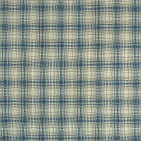 Kahlo Check Denim Fabric by Clarke & Clarke - Decor Rooms