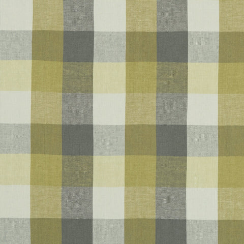 Austin Check Citron/Natural Fabric by Clarke & Clarke - Decor Rooms