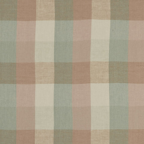 Austin Check Mineral/Blush Fabric by Clarke & Clarke - Decor Rooms