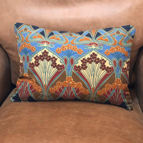 A Hand-Made Small Lumbar cushion in Ianthe Original Fabric by Liberty