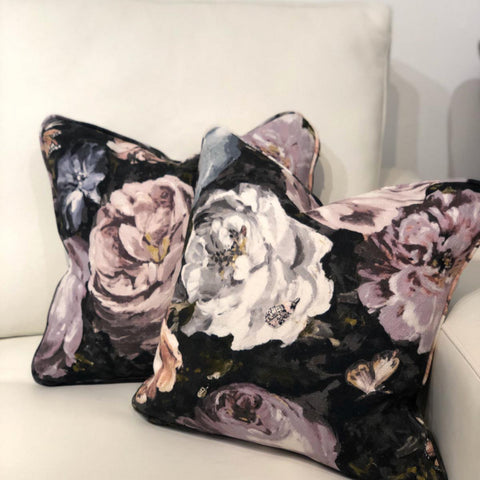 A Hand-Made Piped Cushion in Floretta Blush/Charcoal by Clarke & Clarke