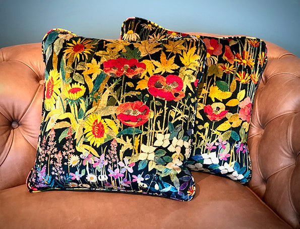 A Hand-Made, Piped Cushion in Faria Flowers Velvet Fabric by Liberty