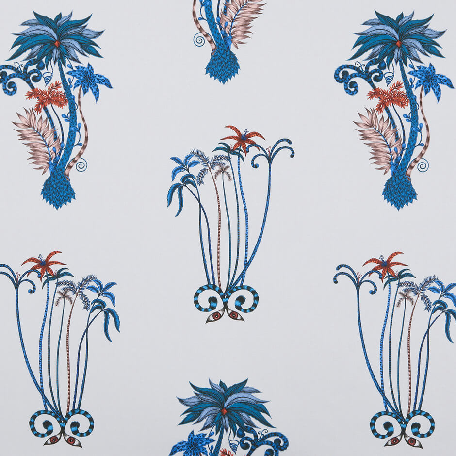 Jungle palms Blue Fabric by Clarke & Clarke - Decor Rooms