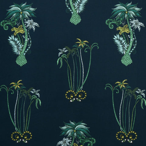 Jungle Palms Navy Fabric by Clarke & Clarke - Decor Rooms