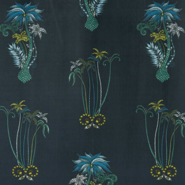 Jungle Palms Navy Velvet Fabric by Clarke & Clarke - Decor Rooms