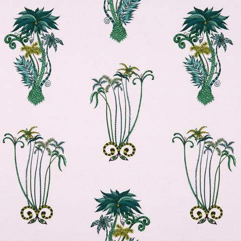 Jungle Palms Pink Fabric by Clarke & Clarke - Decor Rooms