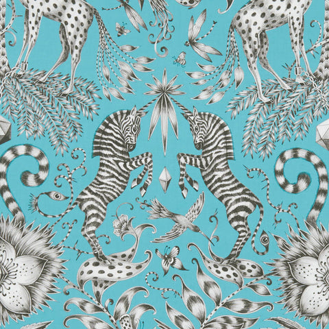 Kruger Teal Fabric by Clarke & Clarke - Decor Rooms