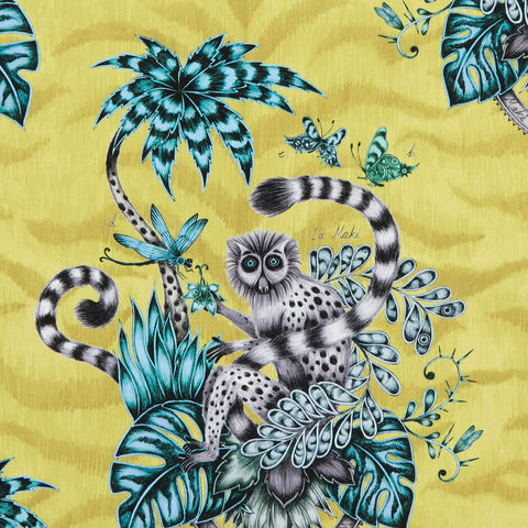 Lemur Lime Fabric by Clarke & Clarke - Decor Rooms